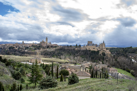 View over the town with its cathedral, alcazar and medieval walls in the historic city of Segovia