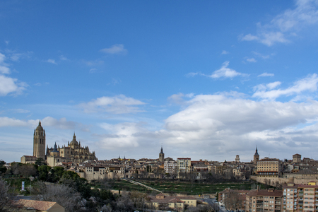 View over the town with its cathedral and medieval walls  in the historic city of Segovia