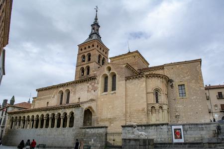 Segovia, Spain: March 2015:  Catholic church of San Martin in the Spanish town Segovia ( UNESCO World Heritage Site)