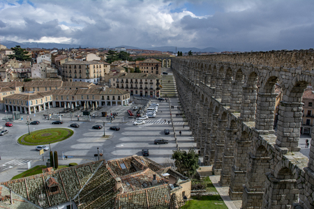Segovia, Spain: March 2015: Scenery of the Acueduct of Segovia, top view of old building towns in Segovia