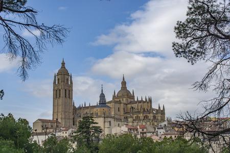 Segovia, Spain: March 2015:  Gothic style Roman Catholic Cathedral of Santa Maria  in the historic city of Segovia