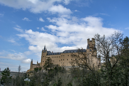 The famous Alcazar of Segovia, rising out on a rocky crag, built in 1120. Editorial