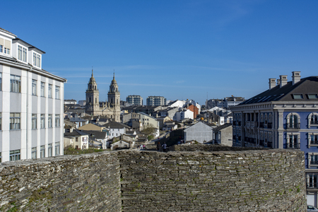 Lugo, Galicia, Spain; April 2015: View of St Mary Cathedral in Lugo, Spain, seen from historic Roman walls. Editorial