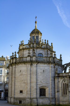 Lugo, Galicia, Spain; April 2015: Detail of the Cathedral of Santa María temple that holds the privilege of the permanent exhibition of the Blessed Sacrament In Lugo