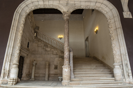 Penaranda de Duero, Burgos, Spain April 2015: view of the main staircase of the Palace of the Counts of Miranda or Avellaneda in Pe?anda de Duero in the province of Burgos, Spain