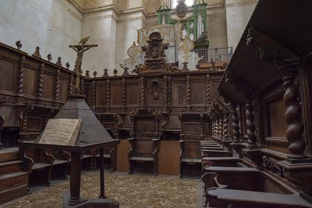 Penaranda de Duero, Burgos, Spain April 2015: view of the interior of the former collegiate church of Santa Ana in Pe?anda de Duero in the province of Burgos, Spain