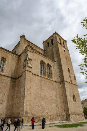 Penaranda de Duero, Burgos, Spain April 2015: view of the tower of the former collegiate church of Santa Ana in Pe?anda de Duero in the province of Burgos, Spain Editorial