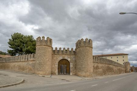 Penaranda de Duero, Burgos, Spain April 2015: view of the Pe?a de Duero wall in the province of Burgos, Spain