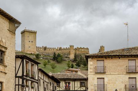 Penaranda de Duero, Burgos, Spain April 2015: view of castle of Penaranda de Duero in province of Burgos, Spain Editorial