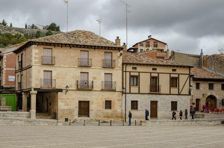 Penaranda de Duero, Burgos, Spain April 2015: Main Square of Penaranda de Duero with its typical half-timbered houses and in province of Burgos, Spain