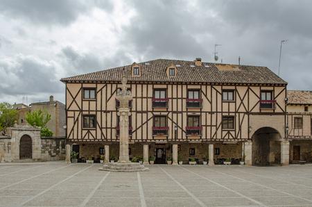 Penaranda de Duero, Burgos, Spain  April 2015: Main Square of Penaranda de Duero with its typical half-timbered houses in province of Burgos, Spain