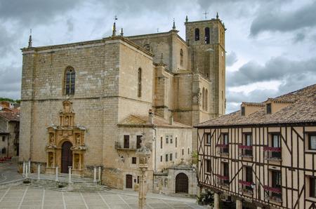 Penaranda de Duero, Burgos, Spain  April 2015: Main Square of Penaranda de Duero and church  in province of Burgos, Spain Editorial