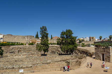 Merida, Badajoz, Spain; May 2015: ruins of Old Arab Alcazaba of Merida, Archeological site UNESCO World Heritage Site.