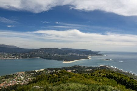 view from monte de Santa Tecla in Galicia, Spain over the border with river Mino to Caminha in northern Portugal