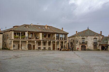 Pedraza, Segovia, Spain; March 2018: Pedraza Medieval Village Main Square Typical Architecture Cityscape Editorial