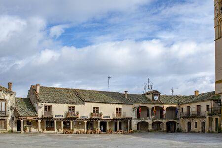 Pedraza, Segovia, Spain; March 2018:  Pedraza Medieval Village Main Square Typical Architecture Cityscape