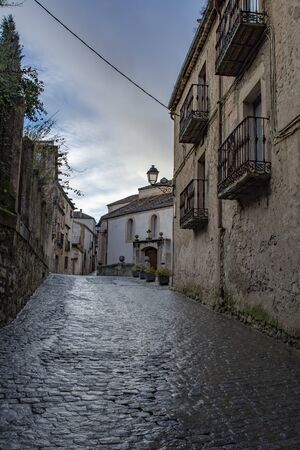 Sepulveda, Segovia, Spain; March 2018:  view of one street in the Old town in the village of Sepulveda
