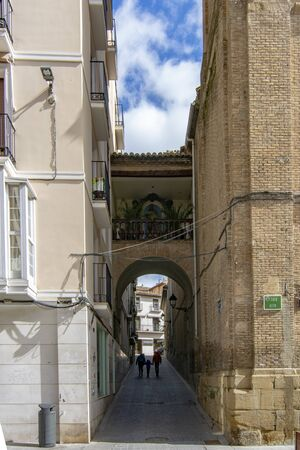 Huesca, spain; March 2017: view of the passageway of Lastanosa Street  in the centre of the city of Huesca