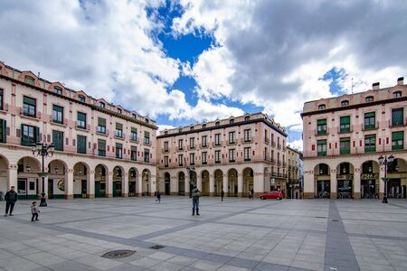 Huesca, Spain; March 2017: facades of historic palaces in the main square of the city of Huesca