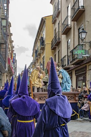 Zamora, Spain; March 2018: Holy Thursday procession of the Confraternity of the Holy Cross, Discipline and Penance. The processions considered the cultural heritage that developed in the streets of Zamora.