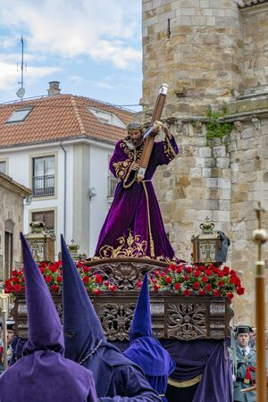 Zamora, Spain; March 2018: Holy Thursday procession of the Confraternity of the Holy Cross, Discipline and Penance, processions considered the cultural heritage Redakční