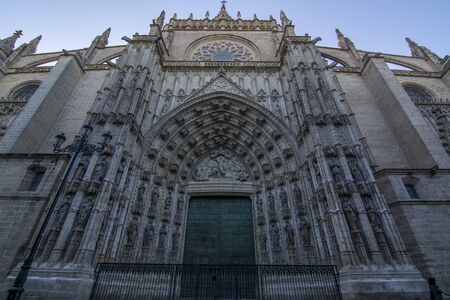 Sevilla, Spain;July 2107: door of Assumption of the Sevilla Cathedral