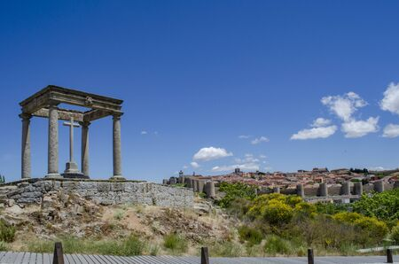 Town, medieval walled city and The Four Posts, monument in Castile and Leon, Spain