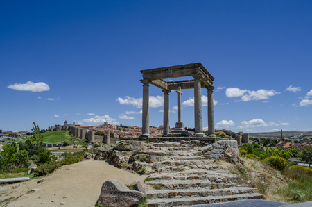 Town, medieval walled city and The Four Posts, monument in Castile and Leon, Spain Editorial
