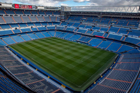 MADRID, SPAIN - February, 2019 : Santiago Bernabeu Stadium is the current home stadium of Real Madrid FC and holds a capacity of 81000 people