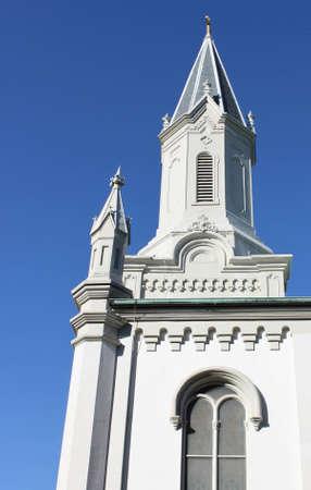 reaches: Church steeple in Savannah reaches for the sky