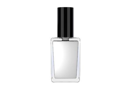 흰색 배경에 흰색 매니큐어 병입니다. 차원 그림
