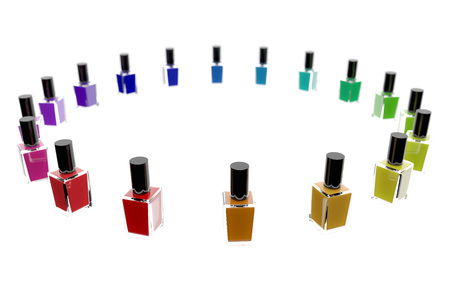 Group of bright nail polishes isolated on white. 3d illustration Stock Photo