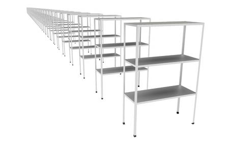 金属の産業貯蔵の棚は白いで隔離した。3d イラストレーション