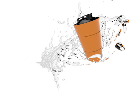 muscle gain: 3d rendering of orange shaker into splashes on white background. Fitness accessories. Kitchenware. Healthy eating. Stock Photo