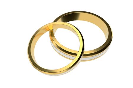 Golden wedding rings isolated on white background. 3d illustration