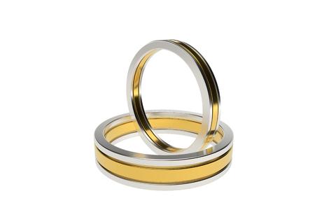 Goldene Hochzeitsringe getrennt auf weißem Hintergrund. 3D-Darstellung Standard-Bild - 89400439