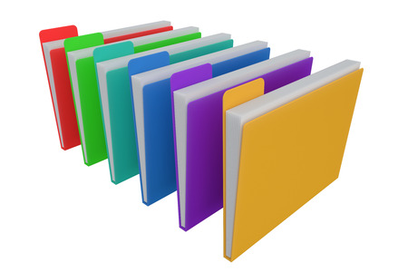 Colored Folders for documents. 3d illustration Stock Photo