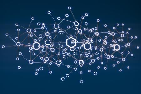 Blockchain network concept. 3d illustration Stock Photo