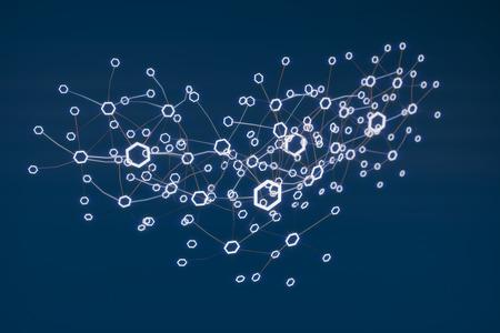Blockchain ネットワークの概念。3 d イラストレーション 写真素材