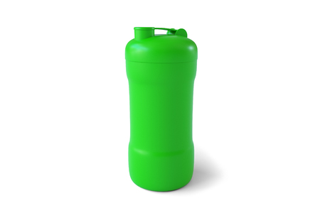 3d rendering of green shaker on white background. Fitness accessories. Kitchenware. Healthy eating. Stock Photo