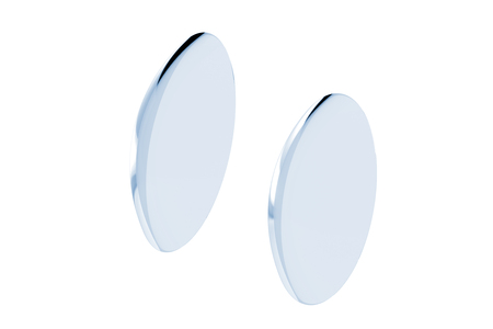 Two contact lenses close-up on white background. 3d illustration