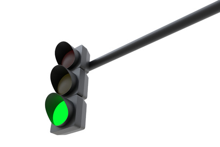 Green traffic light isolated on white background. 3D illustration Stock Photo