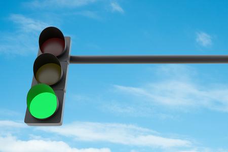 Green traffic light against blue sky. 3D illustration Stock Photo