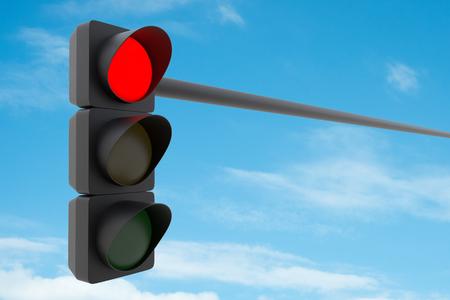 Red traffic light against blue sky. 3D illustration Stock Photo