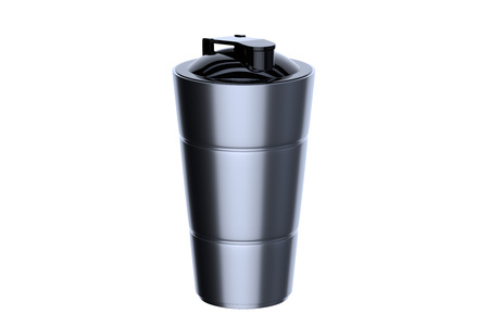 3d rendering of steel shaker on white background. Fitness accessories. Kitchenware. Healthy eating. Stock Photo