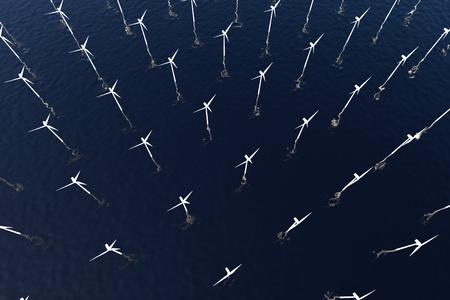 Wind Turbines in the Sea. 3D illustration