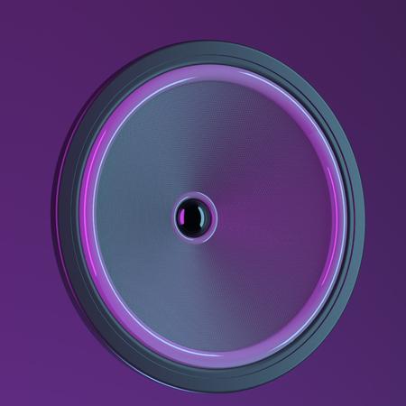 Speaker on purple background. 3d illustration