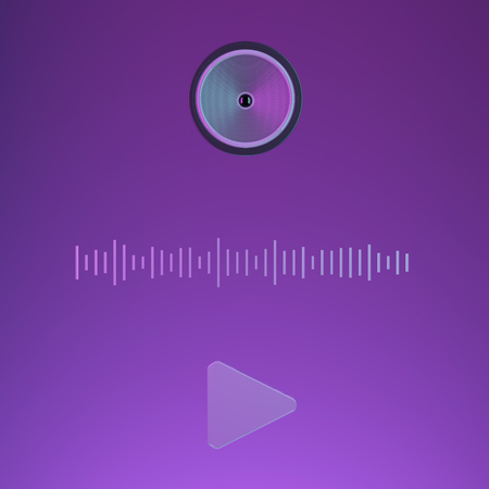 Speaker on purple background. 3d illustration