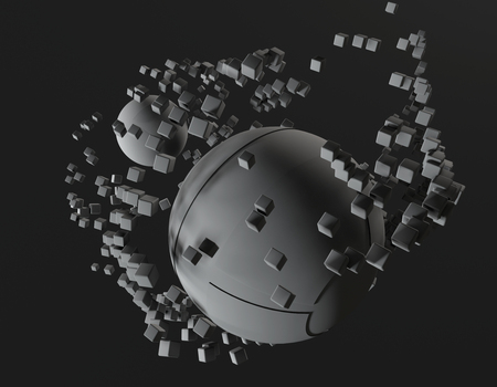 Abstract spheres on black background. 3d illustration