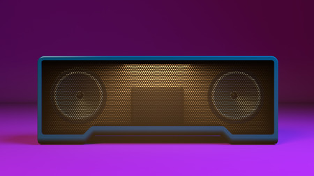 Wireless speaker on purple background. 3d illustration